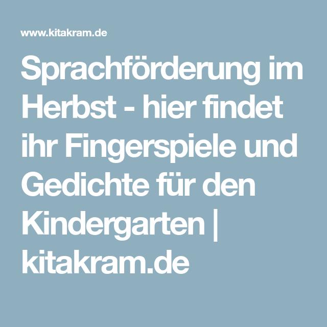 Sprachförderung im Herbst - hier findet ihr Fingerspiele und Gedichte für den Kindergarten   kitakram.de