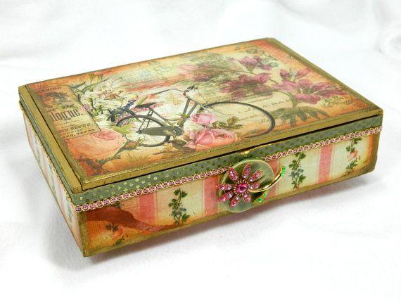 RESERVED FOR DARLENE Altered Cigar box treasure box re