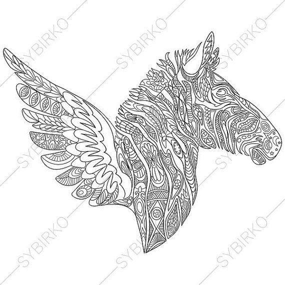 Coloring Pages For Adults Zebra Wings Adult Coloring Pages Animal Coloring Pages Digital Jpg Pdf Coloring Page Instant Download Print Zhivotnye