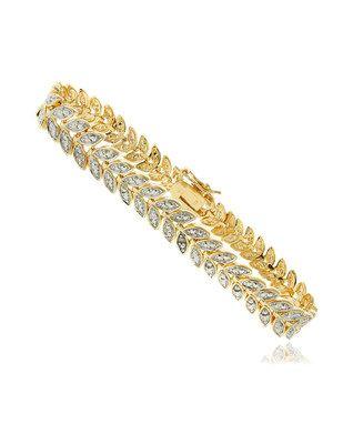 Diamond & Gold Leaf Bangle