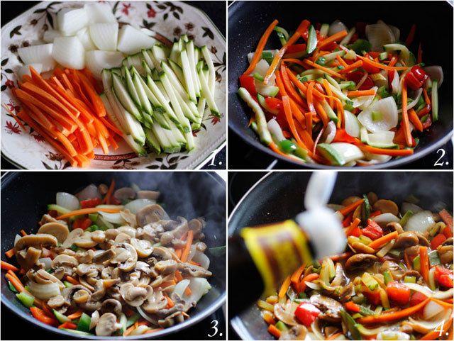 Estos gustosos tallarines chinos con muchos vegetales.