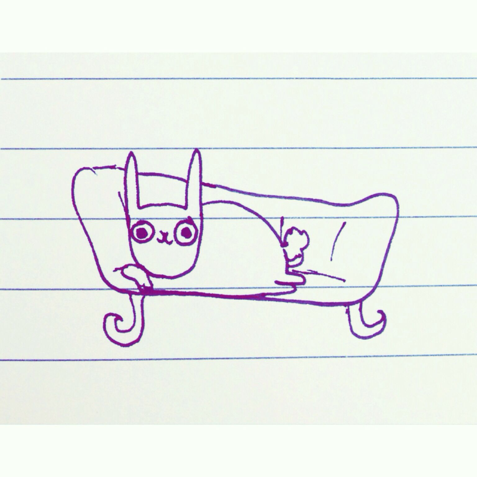 Bunny on a chaise Longue by Rosie Chomet