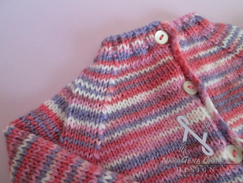Hand crocheted soft pink and magenta sweater