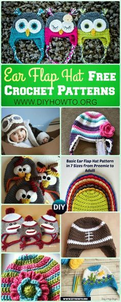 Winter Ear Flap Hat Crochet Pattern Free For Kids, Adults, Girls and ...