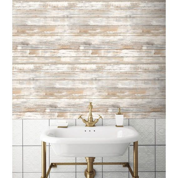 Distressed Wood Peel And Stick Wallpaper Gray Brown White 3d Etsy Distressed Wood Wallpaper Distressed Wood Wall How To Distress Wood