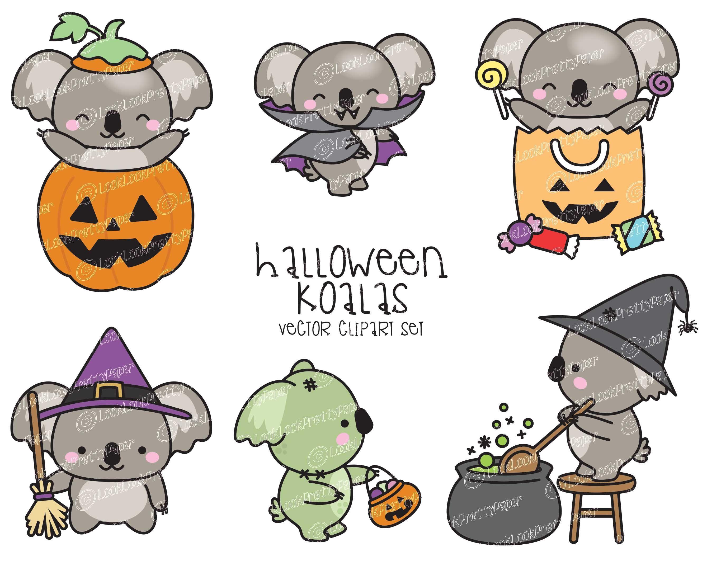 Premium Vector Clipart Kawaii Halloween Koalas Cute Etsy In 2021 Kawaii Halloween Cute Cartoon Wallpapers Koala Drawing