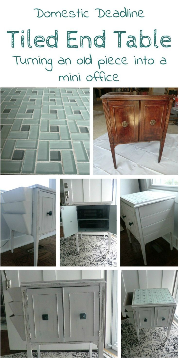 How to Turn an End Table into a Mini Office with Tile Top:   Home ...