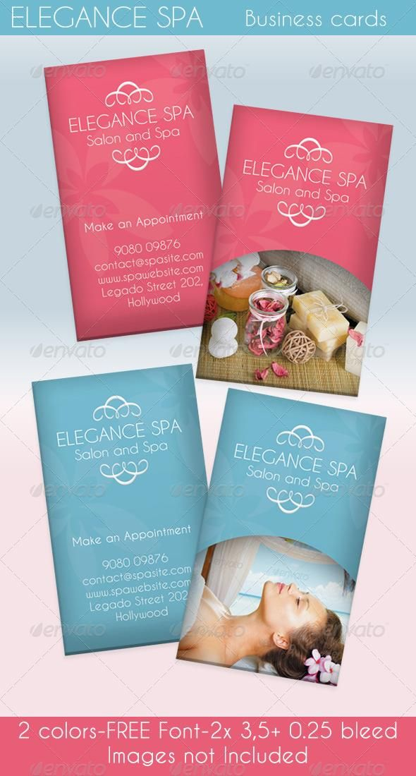 Elegance Spa Card 2 Colors Colorful Business Card Spa Business Cards Business Cards Creative