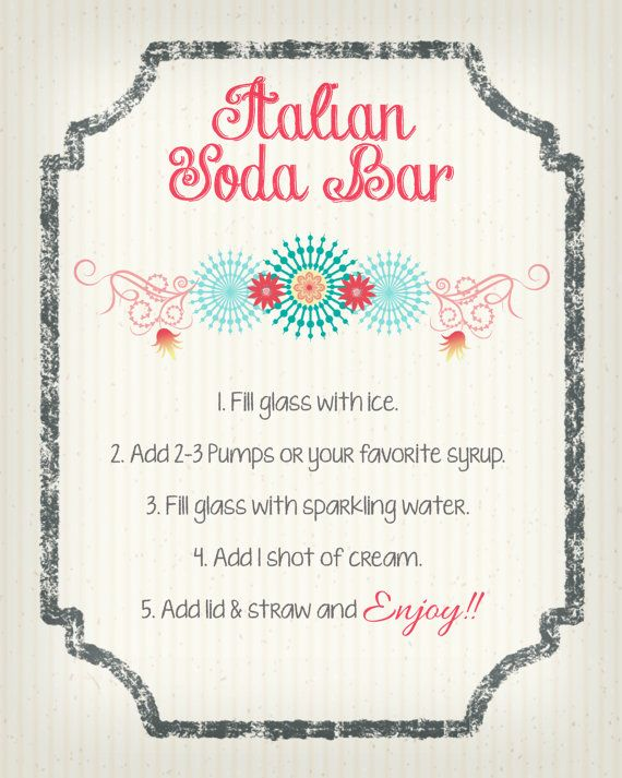 Italian Soda Recipe Printable 11x14 Bar Sign Italian Soda Italian Sodas Recipe Soda Recipe