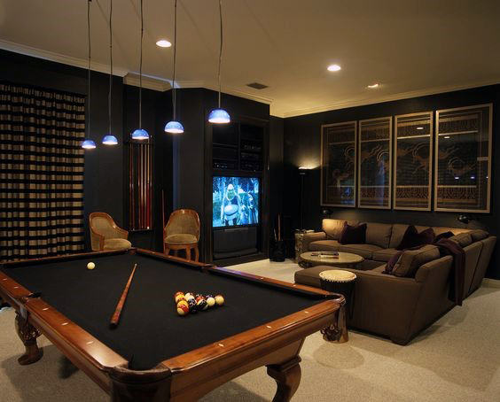 60 Game Room Ideas For Men Cool Home Entertainment Designs In 2020 Pool Table Room Man Cave Home Bar Game Room Basement