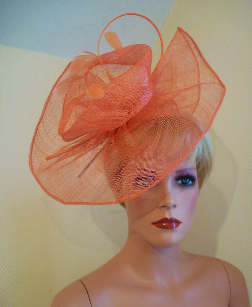 69751895345dab LADIES DAY RARE NEW ORANGE HATINATOR FASCINATOR WEDDING ROYAL ASCOT RACE HAT
