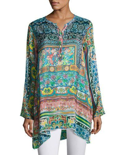 9344ae2ed1b Plus Size Frame Silk-Georgette Print Tunic Multi   *Neiman Marcus ...