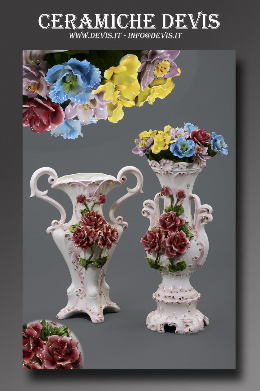 Vases with roses.