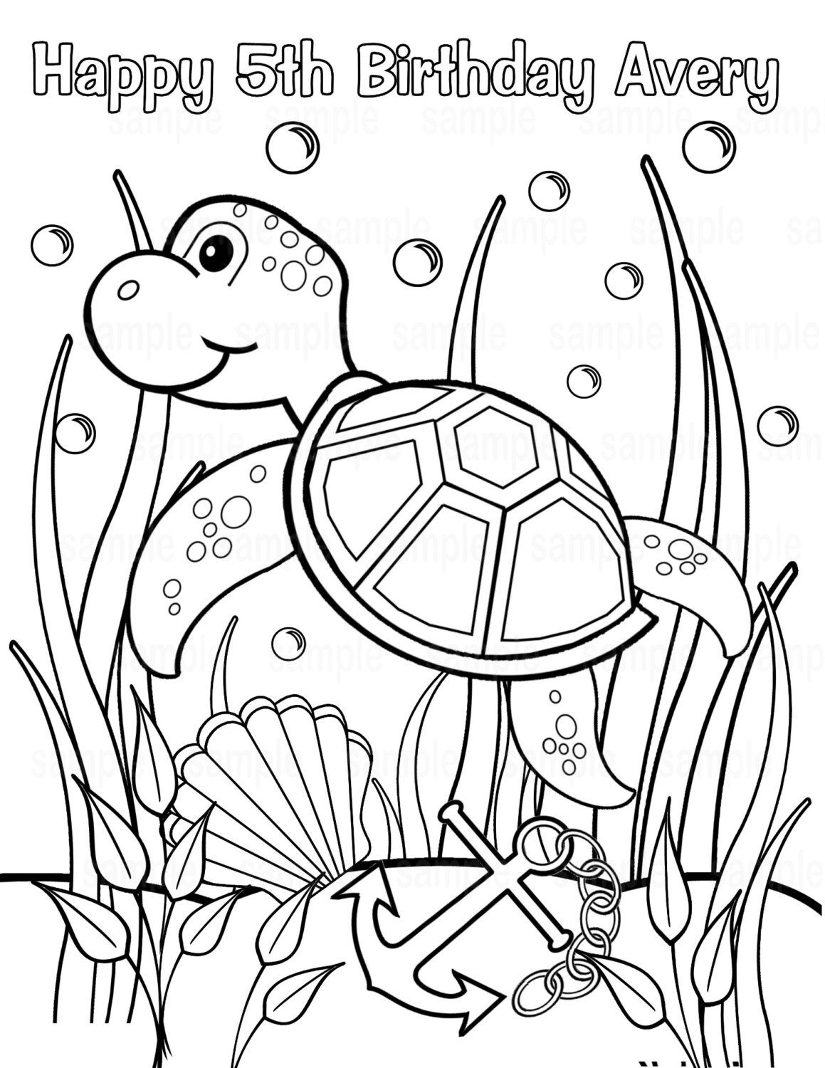 Personalized Printable Sea Turtle Under the sea Birthday