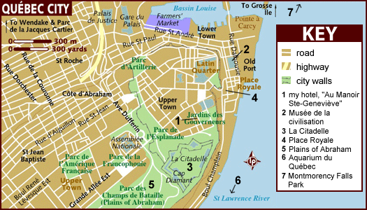 A map of central qu bec quebec city and vicinity for Club piscine quebec city