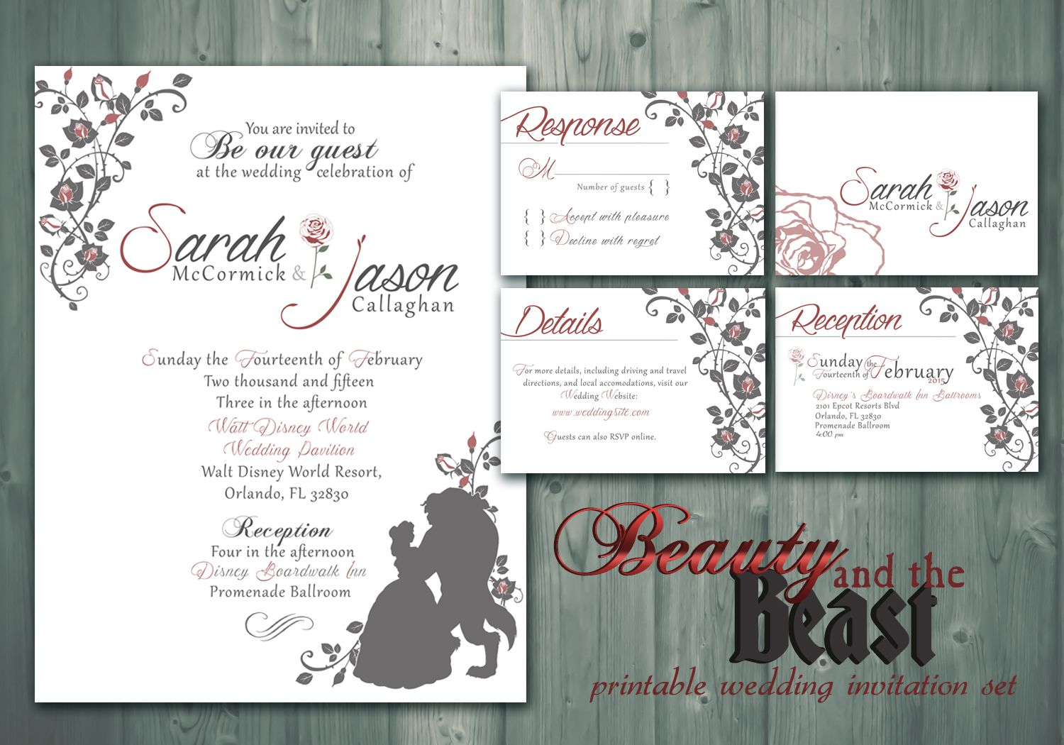 Beauty and the Beast -- Printable Wedding Invitation / RSVP / Detail ...