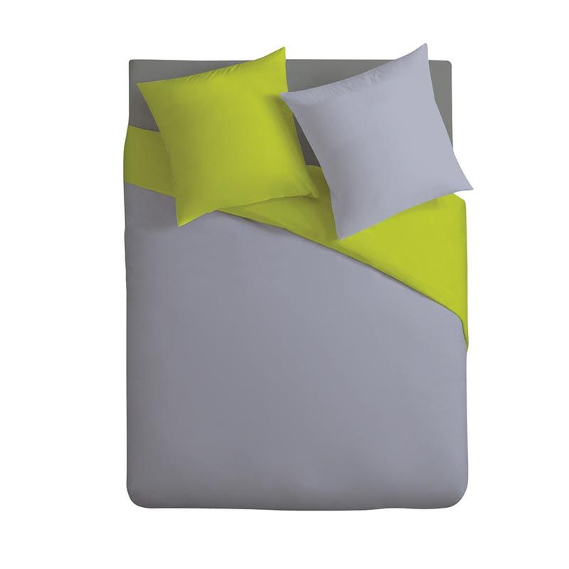 Parure de lit bicolore vert et gris clair 2 personnes
