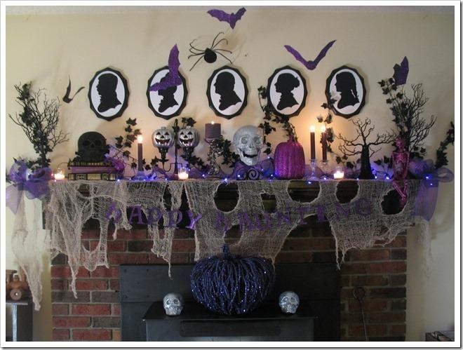 halloween decorations ideas inspirations a creepy silver black purple halloween mantel - Halloween Mantel Decorations
