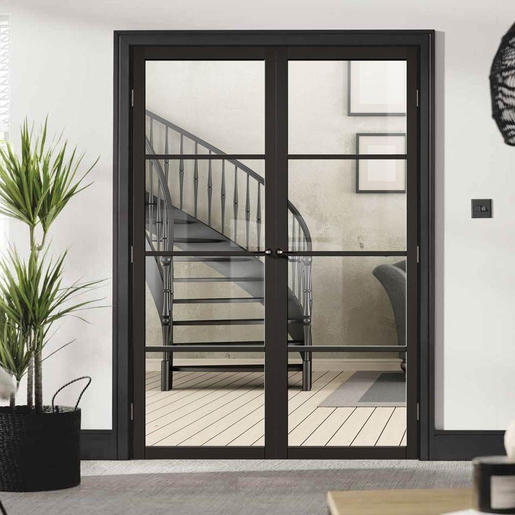 Soho 4 Pane Black Primed Door Pair Clear Glass Double Doors Interior French Doors Interior Primed Doors