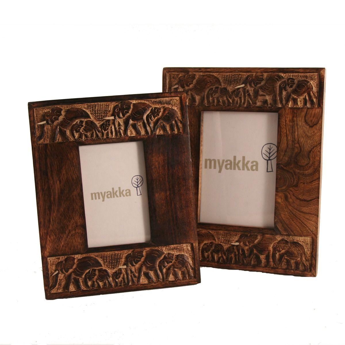 carved elephant photo frame myakka - Elephant Picture Frame