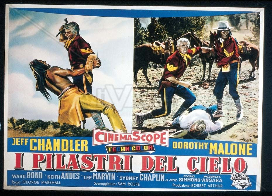PILLARS OF THE SKY - Jeff Chandler - Dorothy Malone - Ward Bond - Directed by George Marshall - Universal-International - Italian Lobby Card.