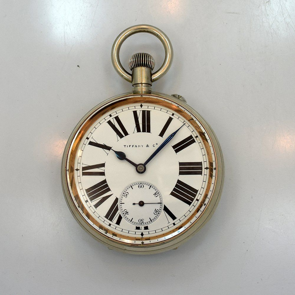 ad2994dd80409 1890's Vintage Tiffany & Co. VERY LARGE and RARE 70 mm Wide Pin Set Pocket  Watch with Nickle Case and Original Enamel White Dial with Black Roman  Numerals.