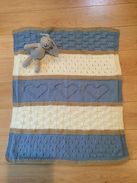 Baby Blanket Pattern, Knit Baby Blanket Pattern, Heart Baby Blanket Pattern, Crib Blanket - Knitting Pattern by Deborah O'Leary #babyblanket