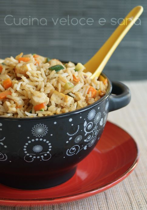 riso con tofu e verdure ricetta vegetariana in cucina
