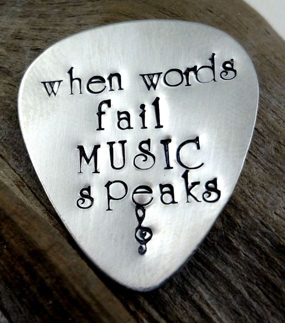 Custom Guitar Pick  When Words Fail Music Speaks   by RoseCreekToo I want this