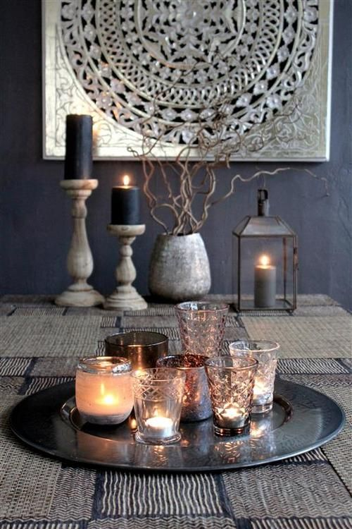 The candle filled plate would make a great center piece for Candle dining room centerpieces