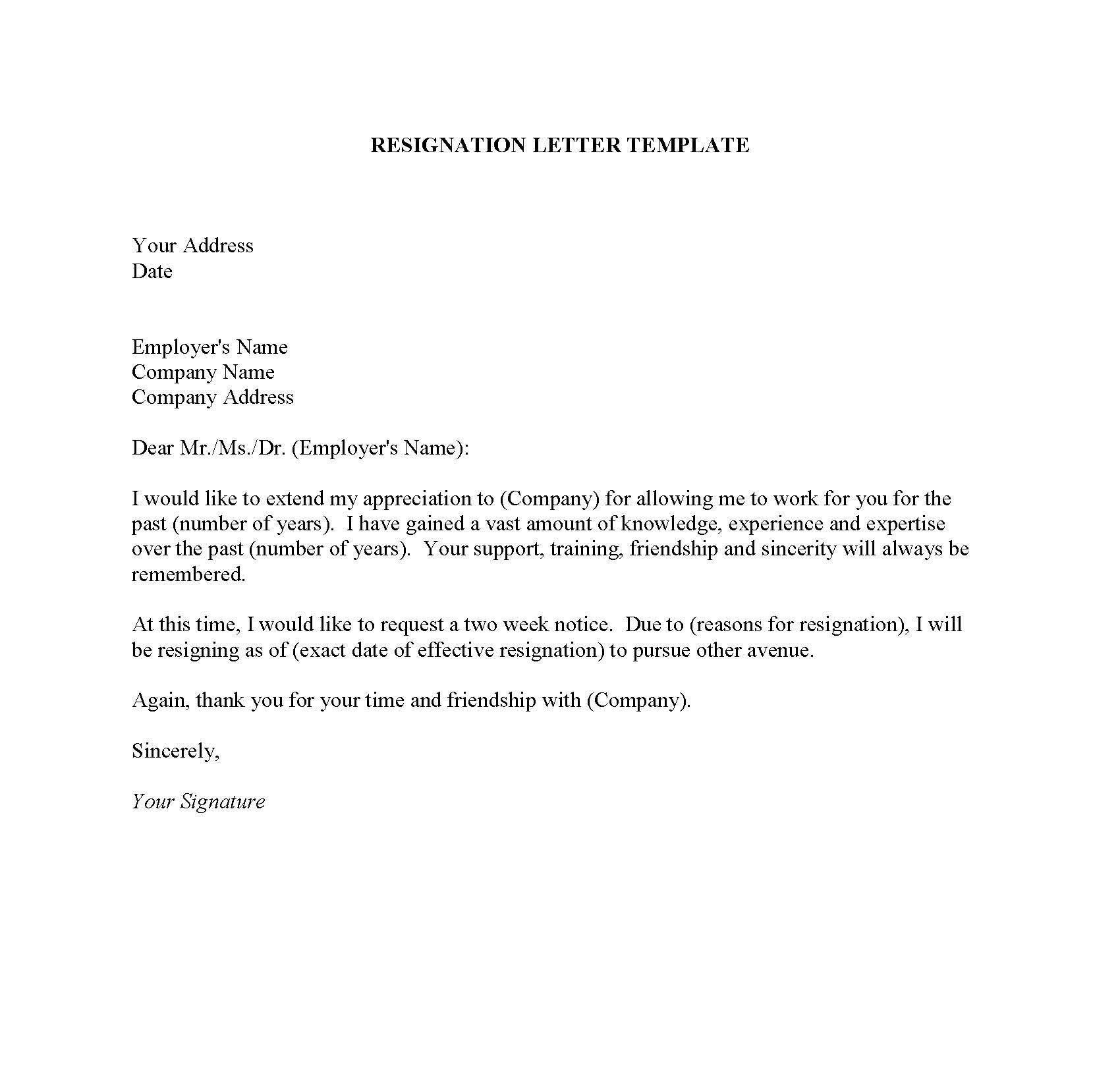 professional resignation letter sample doc