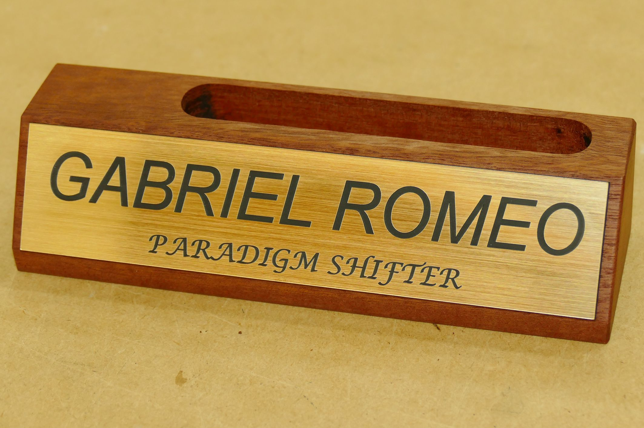wooden desk sign example with business card holder red gum timber