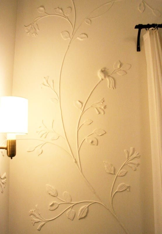 Plaster Art Ceiling Wall Flowers 3d Plaster Flowers Branches And A Cute Little Bird Decor Home Decor Wall Decor