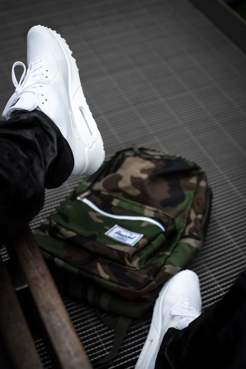 hot sale online 23112 f532c Nike Air Max 90 White Hyperfuse and Camo print Herschel Backpack.  fashion   sneakers