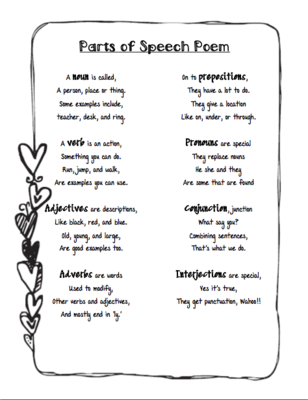 Parts of Speech Poem from Life in Middle School on