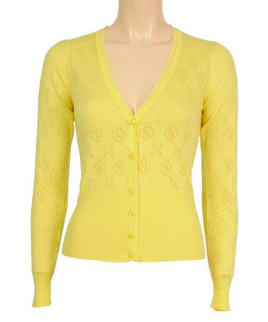 Another great find on #zulily! Aspen Yellow Love V-Neck Cardigan by Louie et Lucie #zulilyfinds