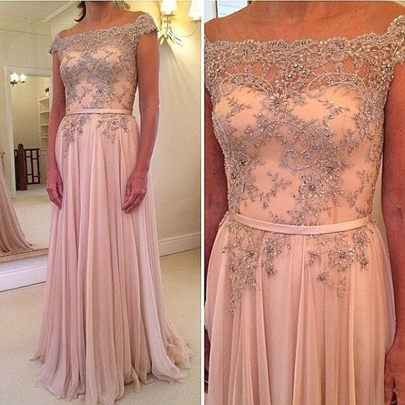 A line Cap Sleeves Embroideried Beaded Long Chiffon Pink Prom Dress ...
