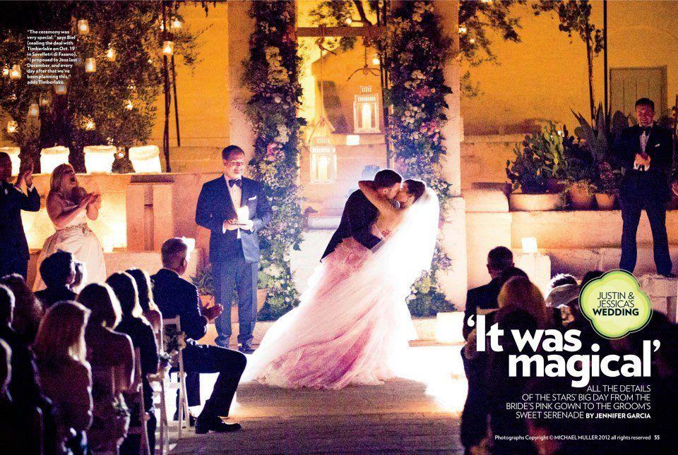 Jessica Biel Justin Timberlake Wedding In People Jessica Biel Wore A Pink Wedding Dress At Rustic Italian Wedding Celebrity Weddings Jessica Biel And Justin