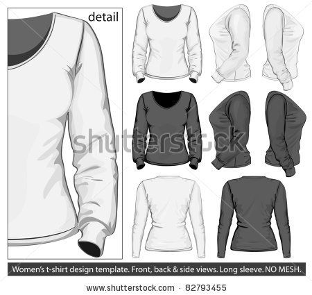 Download Stock Vector Vector Women S T Shirt Design Template Front Back And Side View Long Sleeve No Mesh 82793455 T Shirt Design Template Shirt Designs Tshirt Designs