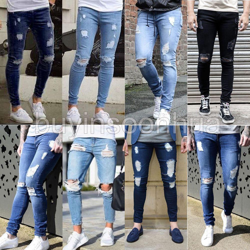 Moda Para Hombre Skinny Jeans Biker Destruido Deshilachado Slim Fit Pantalones De Mezclilla Rasgada Nuevo Super Skinny Jeans Men Stylish Jeans Skinny Jeans Men