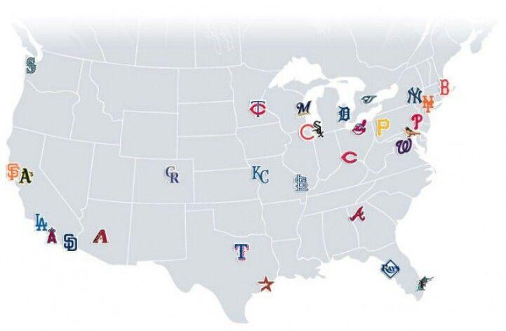 Map of Mlb teams | Mlb | Pinterest | Mlb teams