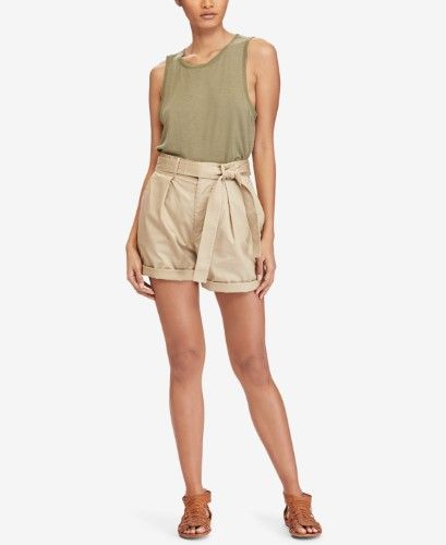 ddbba28ec Polo Ralph Lauren Womens Twill High Rise Khaki Shorts, Size: 12, Tan ...