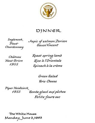 White House Quotes New June 1963 Kennedy White House Menu Jfk Library Www.pinkpillbox .