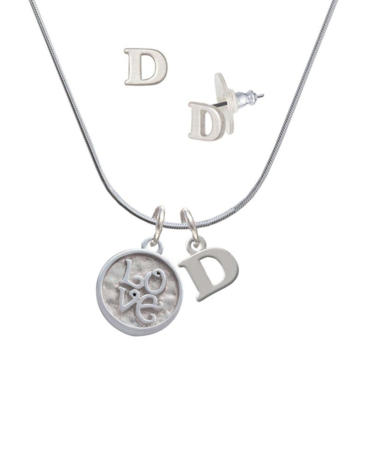 Love square round seal d initial charm necklace and stud