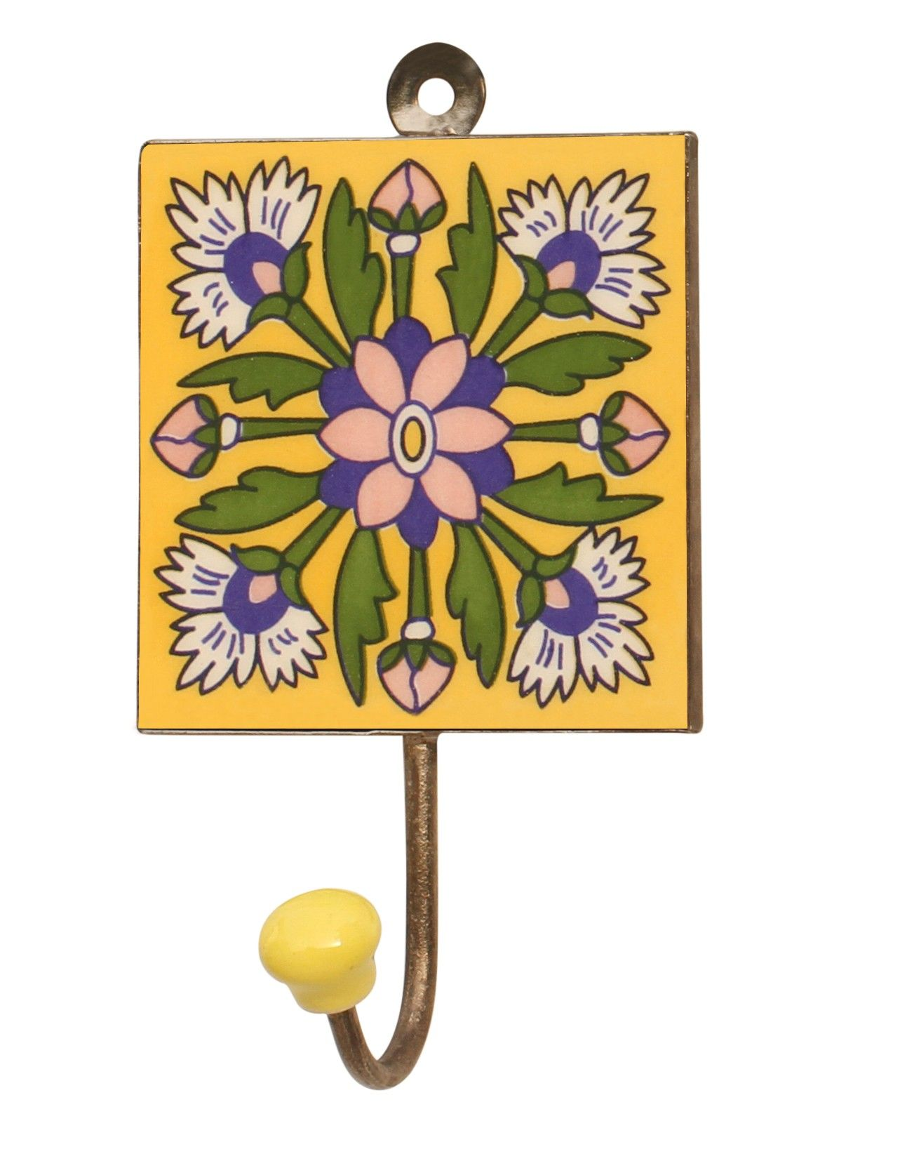 "Flowery Hook-ups - #Handmade 6.2"" Ceramic #Wall #Hook with #Floral ..."
