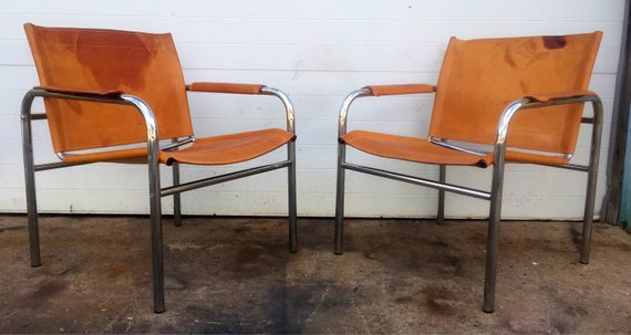 Brilliant Vintage Leather And Chrome Sling Chairs Products Leather Cjindustries Chair Design For Home Cjindustriesco