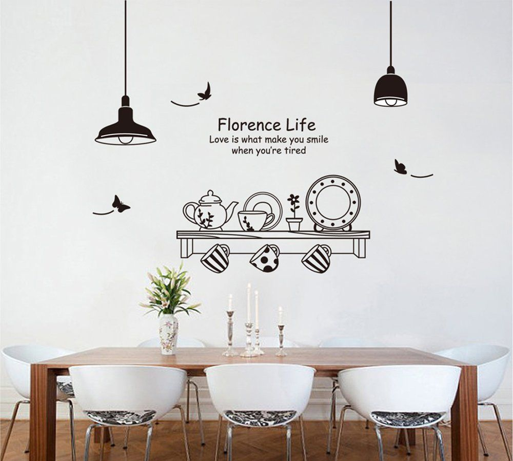 ufengke® Personalized Tableware Pot Cup and Saucer Wall Decals, Wall ...