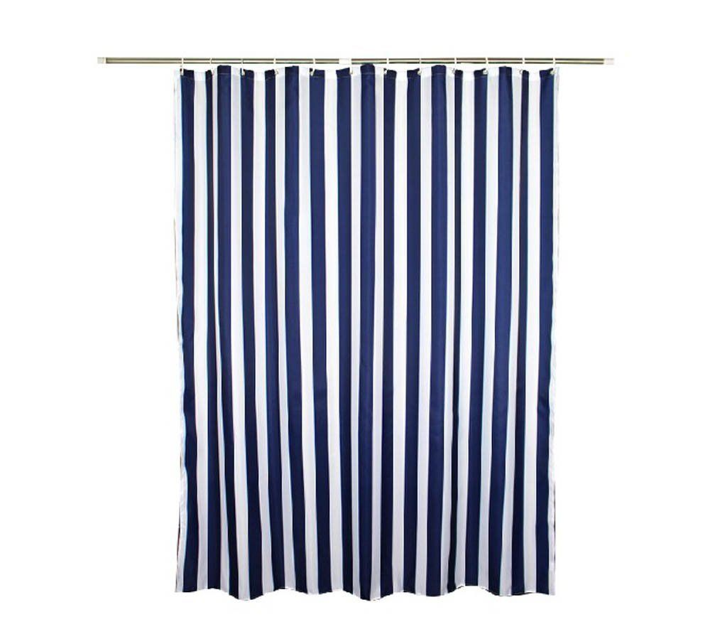 Amazon.com: Navy Style Blue White Stripe Fabric Shower Curtain ...