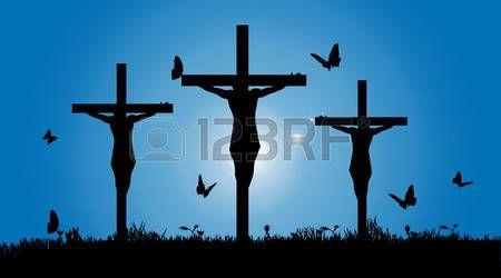 crucifixion jesus: Vector silhouette of Jesus on the cross. Illustration