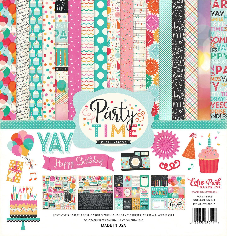 Scrapbook paper collections - Echo Park Paper Party Time Collection 12 X 12 Scrapbook Paper And Sticker Kit